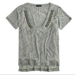 J.crew beaded fancy gray t-shirt M new v-neck boho